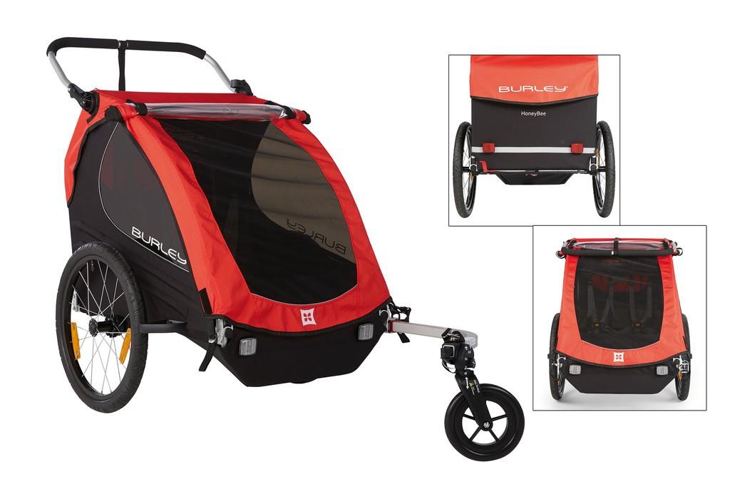 Remolque para niños Burley Honey Bee modelo 2016 rojo con rueda de cochecito